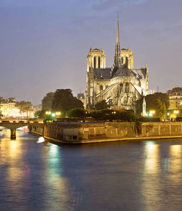 Cathedral Notre-Dame of Paris border of the seine
